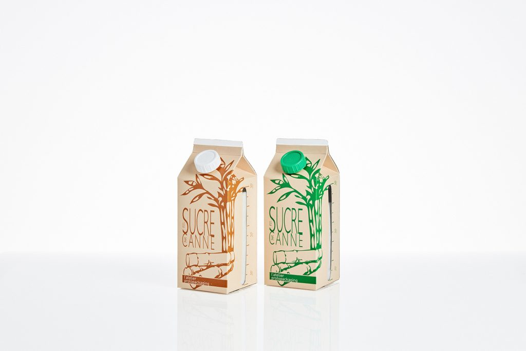 Maquettes alimentaire - Emballage carton à toit pointu avec bouchon - Pack sucre